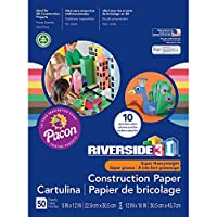 (50 Sheets, 23cm x 30cm) - Riverside 3D Construction Paper, 10 Assorted Colours, 23cm x 30cm, 50 Sheets