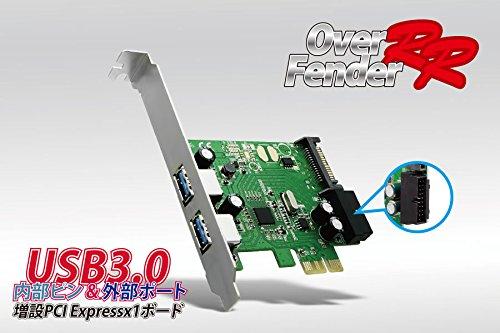 OVER FENDER RR USB3.0 内部ピン&外部ポート 増設 PCI Expressx1形状ボード ロープロファイルブラケット付属 4ピンSATA電源変換ケーブル付属 SD-PEU3R-2E2IL2