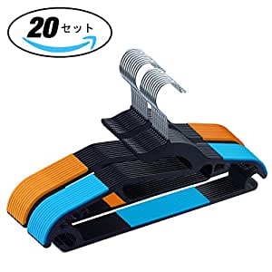 LITTLE HOTTIES 洗濯 物干し 衣類ハンガー すべらない 多機能 20本セット (ブラック)