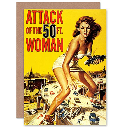MOVIE FILM ATTACK FIFTY FOOT WOMAN SCI FI GIANTESS USA GREETINGS CARD 映画膜女性アメリカ合衆国挨拶