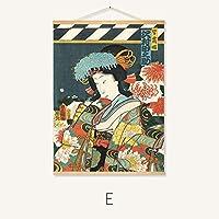 日本の浮世絵侍ヴィンテージポスター塗装壁ステッカー寿司店内装、木製フレーム,E,50*40CM