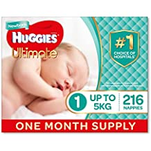 Huggies Ultimate Nappies, Unisex, Size 1 Newborn (Up To 5kg) 216 Count, One-Month Supply