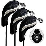 Andux ゴルフ ハイブリッド クラブヘッドカバー 交換可能な番号タグ付き 3個セット (ブラック/シルバー)