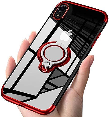iPhone XR ケース リング 透明 磁気カーマウントホルダー スタンド メッキ柔らかい殻 滑り防止 耐衝撃カ 黄...