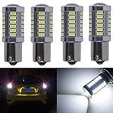 KaTur 4個1156 BA15S 1141 7056 5630 33-SMDホワイト900ルーメン8000KスーパーブライトLEDターンテールのブレーキストップシグナルライトランプ電球12Vの3.6W