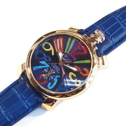 マルチ×ネイビー(D) トップリューズ式ビッグフェイス腕時計 マットタイプ47mm GaGa MILANO ガガミラノ好きに(全8色)