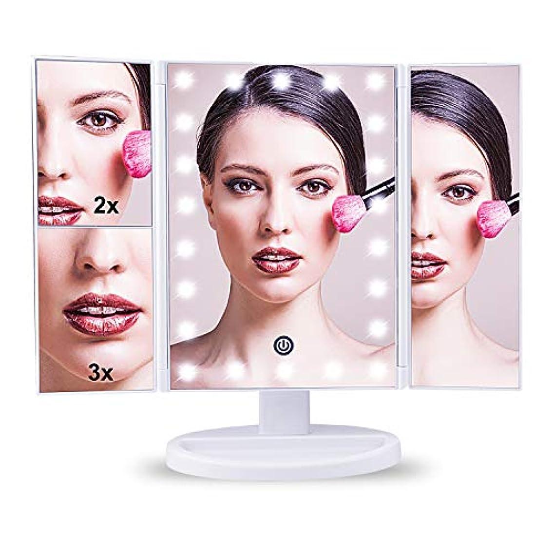 接地即席静脈TREE.NB 化粧鏡化粧化粧台ミラーデスクトップミラー拡大鏡ミラー2倍&3倍拡大LEDライトミラー明るさ調整可能180°回転バッテリー&USB 2WAY給電
