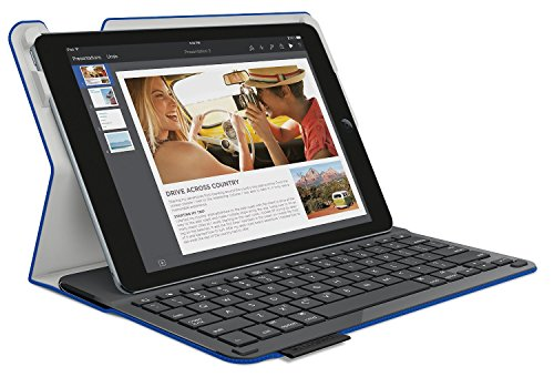 Logitech Type+ Protective Case with Integrated Keyboard for iPad Air 2, Woven Electric Blue - Textured Surface (920-006667) [並行輸入品]