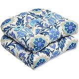 Pillow Perfect Outdoor Santa Maria Wicker Seat Cushion, Azure, Set of 2
