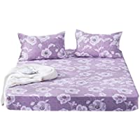 ZHIYUAN フラワーライトパープル洗える綿のベッドシーツと2つの枕カバーセット,ダブル