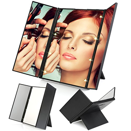MVPOWER 卓上スタンドミラー 三面鏡 化粧鏡 LEDメイクミラー 8個のLEDライト付き 折りたたみ式 女優ミラー 180度回転 コンパクト 持ち運び便利 18ヶ月保証