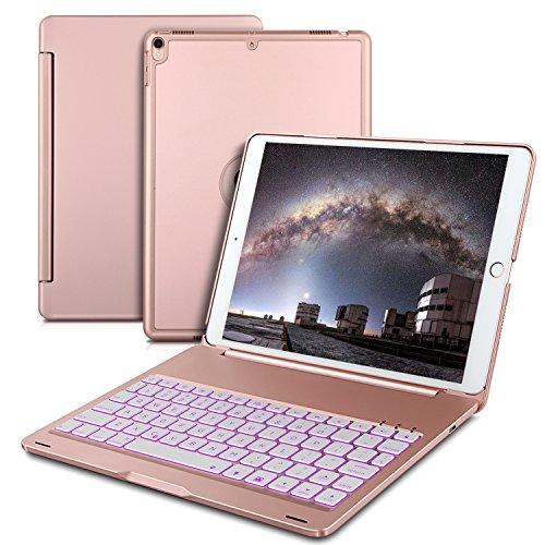 IVSO IPAD PRO 10.5 キーボード 7色バックライト式 APPLE iPad Pro 10.5 キーボード ケース 手帳式 スタンド機能 オートスリープ機能付き ipad 一体型 Bluetooth ワイヤレスキーボード カバー ipad pro 10.5 アルミ合金製キーボードケース ローズゴールド