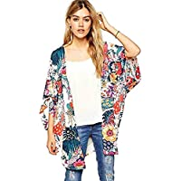 ACEFAST INC Women's Vintage Floral Kimono Jacket Coat Cardigan Blouses