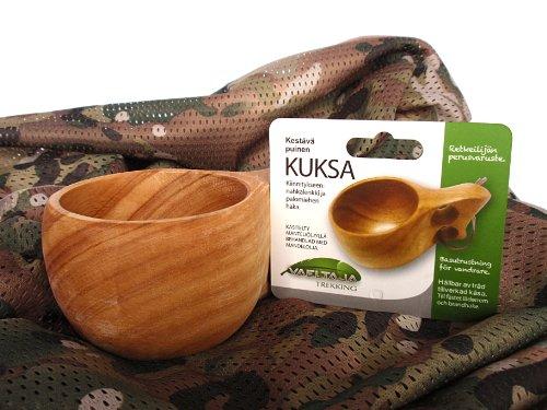 KUKSA  木製 ハンドメイド マグカップ & 迷彩 ミリタリー メッシュ スカーフ セット