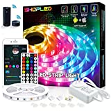 SHOPLED 5m Smart WiFi LED Strip Lights with Alexa Tuya Smart, APP Control, Music Sync, 16 Million RGB Color Changing led Lights for Bedroom, Ceiling, Kitchen, Bar, Party, for iOS and Android