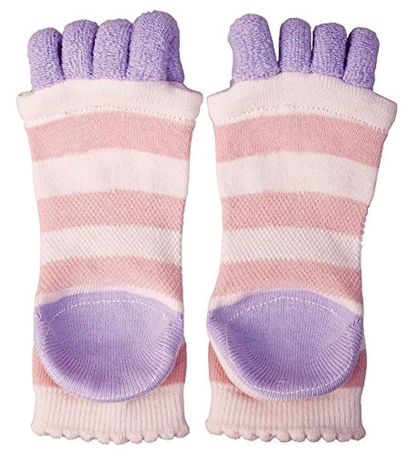 経済港ファイバ眠れる森の5本指 かかとソックス リラックス/靴下/ケア ピンク?AP-617105