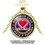 母の日ギフトBest Mom Ever I Love You Always & ForeverペンダントレッドハートMomネックレス誕生日ギフト