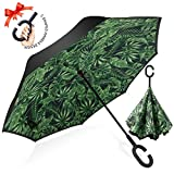 逆転傘 逆さ傘 逆折り式傘 自立傘 長傘 手離れC型手元 耐風 撥水加工 晴雨兼用 ビジネス用 車用 UVカット遮光遮熱 傘ケース付き プランテイン