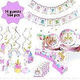 ユニコーン誕生日パーティーバナーデコレーションサプライ ギフトボックス入り 女の子へのパーティーの記念品ギフト 16人用 114ピース+ボーナスギフト