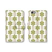 【ノーブランド品】 iphone6s Plus スマホケース 手帳型 花柄 花びら グリーン 緑色 かわいい おしゃれ 携帯カバー アイフォン6 プラス ケース