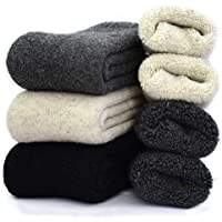 3 Pairs Men's Cashmere Wool Blended Super Thick Warm Winter Crew Socks Size 7-11