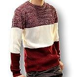 秋 冬 あったか 防寒 3色 ボーダー セーター メンズ Ⅿ Ⅼ XL 黒 白 赤 紺 ブラック ホワイト レッド ネイビー (L, レッド)