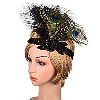 孔雀の羽飾り 羽毛バンド縦羽毛ヘッドバンド羽弾性ヘアバンドヘアアクセサリーパーティーや結婚式のため ヘアバンドウェディング (Color : Black, Size : One size)