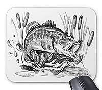 ブラックバスのマウスパッド:フォトパッド( 世界の釣魚シリーズ ) (白地)