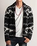 (バレッタ) Valletta モールヤーン ネイティブ柄 ジャガード ニット カーディガン 長袖 メンズ エスニック ショール型― カジュアル ストリート ブラック Mサイズ