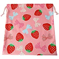 手作り 着替え袋 ピンク イチゴ リボン 入園グッズ 入学グッズ
