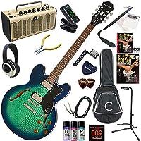 EPIPHONE エレキギター 初心者 入門 ギブソンES-335のエピフォン版 レトロなデザインで多機能・高音質のYAMAHA THR5が入ってる大人の19点セット Dot Deluxe/AM(アクアマリン)