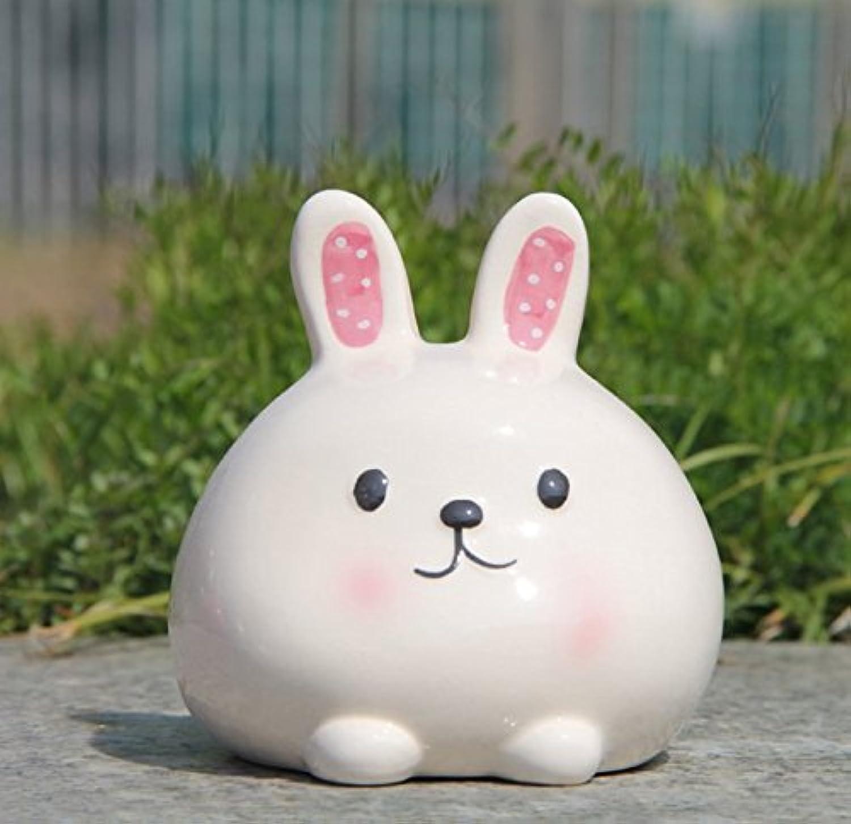 マネー バンク 創造的な新年のプレゼントウサギのピギーバンク白い釉ホームインテリア(白)