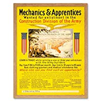 Propaganda Military Recruit Construction Trade Engineer USA Army Art Print Framed Poster Decor 12X16 Inch 宣伝軍事リクルートエンジンアメリカ合衆国軍ポスターデコ