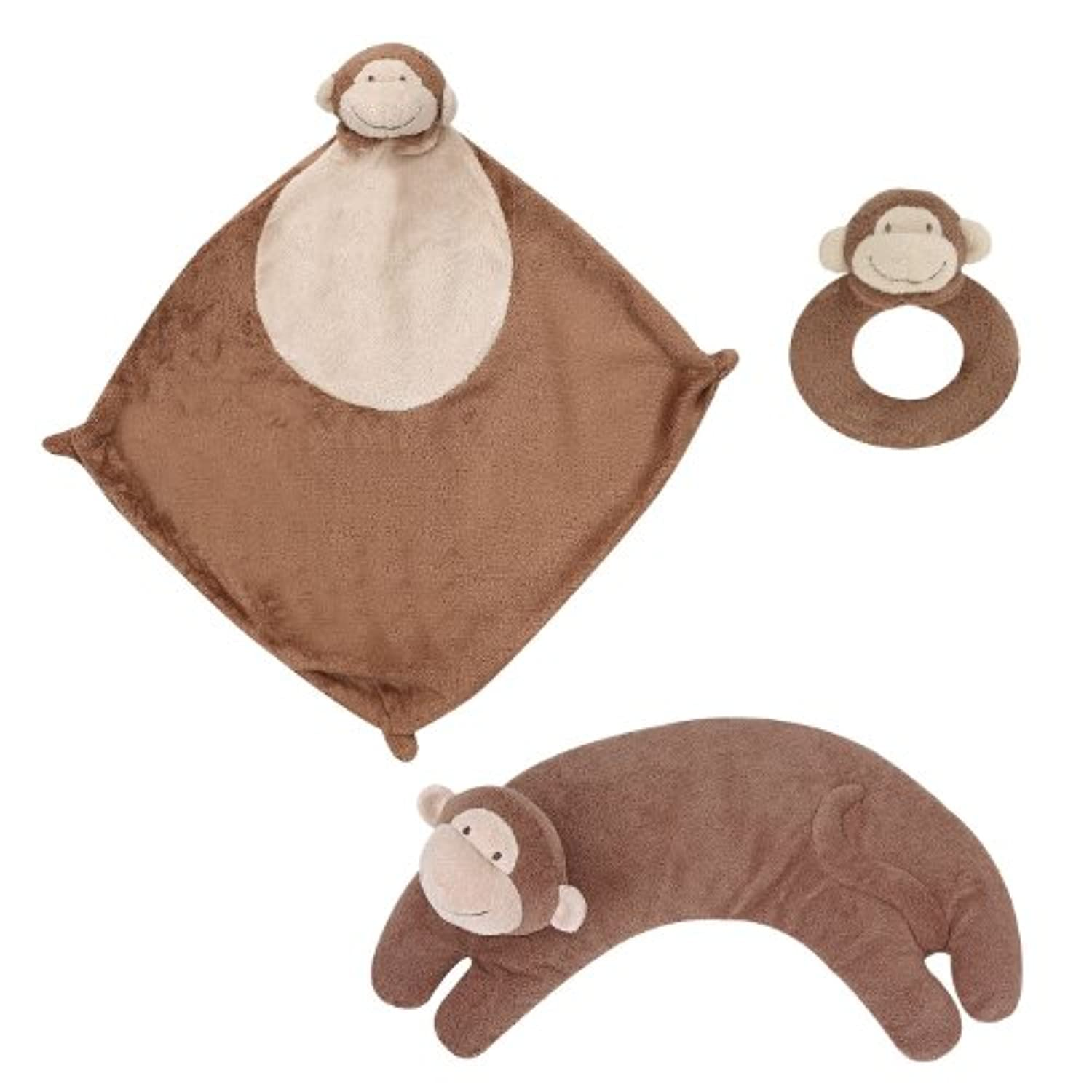 Angel Dear Blankie, Ring Rattle and Curved Pillow Set (Monkey) by Angel Dear