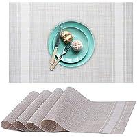 Koeson 4枚入り 耐熱 織物 テーブルマット ノンスリップ ポリ塩化ビニル 洗濯可能 ディナーピクニック用プレースマット ホワイト