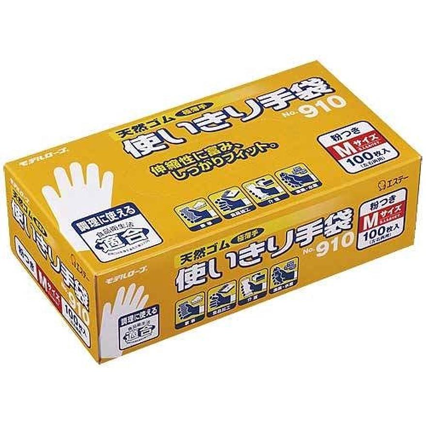 中スリンクオークエステー ラバー ディスポ 手袋 No.910(100枚入)M