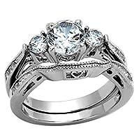 flamereflectionラウンドキュービックジルコニアレディースウェディングリングセットステンレススチール花嫁婚約指輪サイズ5–11SPJ