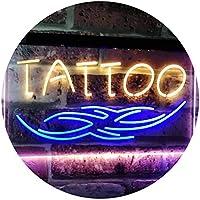 Tattoo Art Studio Ink Display Dual LED看板 ネオンプレート サイン 標識 Blue & Yellow 400mm x 300mm st6s43-i2550-by