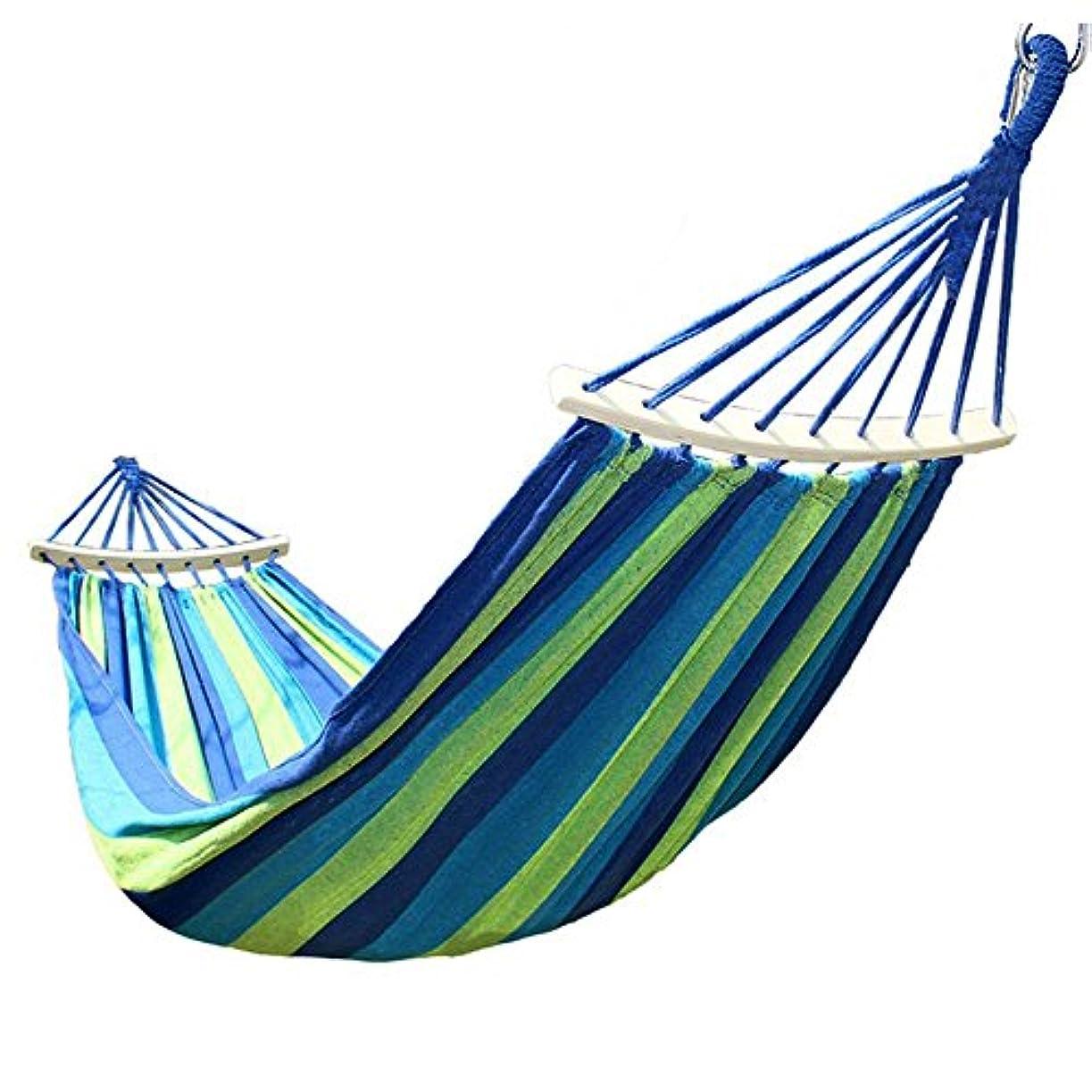 追放グレートオーク月MONBLA ハンモック 睡眠ベッド 寝具 アウトドア ロープ/フック/収納袋付き 2人用 ブルー JG-5678