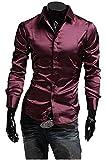 Black Omen (ブラックオーメン) 光沢あり エナメル 長袖 ドレスシャツ(メンズ、男性用)細身 スリムタイプ サテン (赤色(ワインレッド)、XL)n003wr/xl