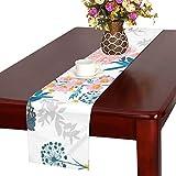 LKCDNG テーブルランナー カラフル 和風の花 クロス 食卓カバー 麻綿製 欧米 おしゃれ 16 Inch X 72 Inch (40cm X 182cm) キッチン ダイニング ホーム デコレーション モダン リビング 洗える