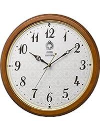 リズム時計工業 掛け時計 茶 Φ33.5x5.7cm キャラクター 電波 アナログ トトロ M534 連続秒針 木 8MY534MN06