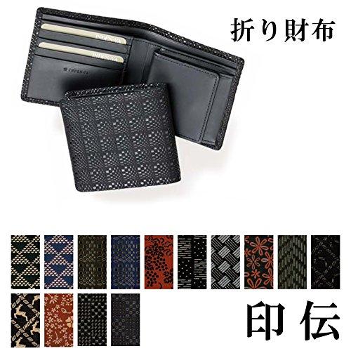 印傳屋(INDEN-YA)印伝 本鹿革 折り財布 札入S 2008c[4:変わり市松(紺×黒)]