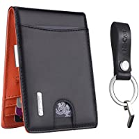 WinCret 本革 財布 二つ折り財布 - 財布 メンズ 大容量 マネークリップ財布 RFIDブロッキング - 小銭入れ 収納 ギフト キーホルダー 革