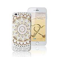 iphone 6 s / 6 4.7インチTPUジェルスキン/ケース/カバー付きマンダラプリントパターンフリー強化ガラススクリーンプロテクター(ブラウン)