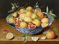 "Still Life withレモン、オレンジとA Pomegranate by Jacob van Hulsdonckタイル壁画キッチンバスルーム壁後ろの油ストーブ範囲シンク止め板4x 34.25インチセラミック、光沢 4.25"" Ceramic, Matte A8__4x3_4.25inchCeramicMatte"