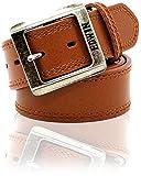 EDWIN(エドウィン) ベルト バックル ロゴ Wステッチ 革 牛革 メンズ ブラウン Free