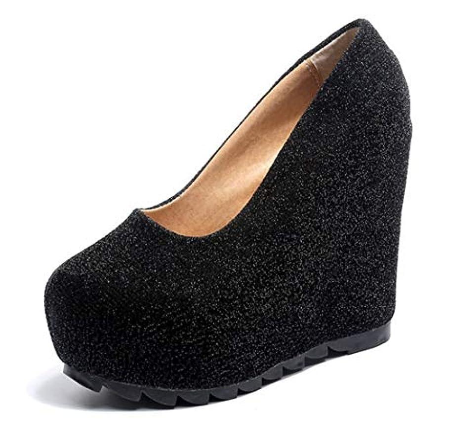 豊かにするカーテン遅らせるレディース Ms 新しい春と夏のスリップウェッジヒール目に見えないプラットフォームかかとブライダルウェディングキラキラウエディングパーティー裁判所の靴のサイズ