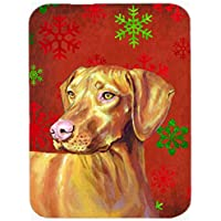Carolines Treasures LH9325LCB Vizsla Red And Green Snowflakes Holiday Christmas Glass Cutting Board, Large