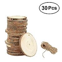 Rosenice木製スライス7–8cm木製ログスライスDiscs with 10mジュートTwine 30個